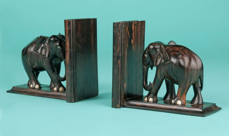 Vintage book-ends with elephants