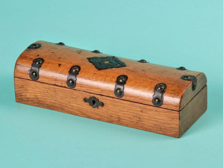 Antique oak glovebox with brass mounts