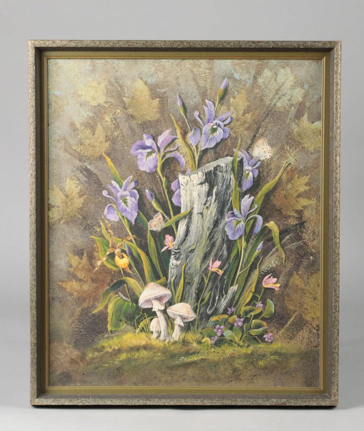 Vintage painting wild flowers by G. Higgins