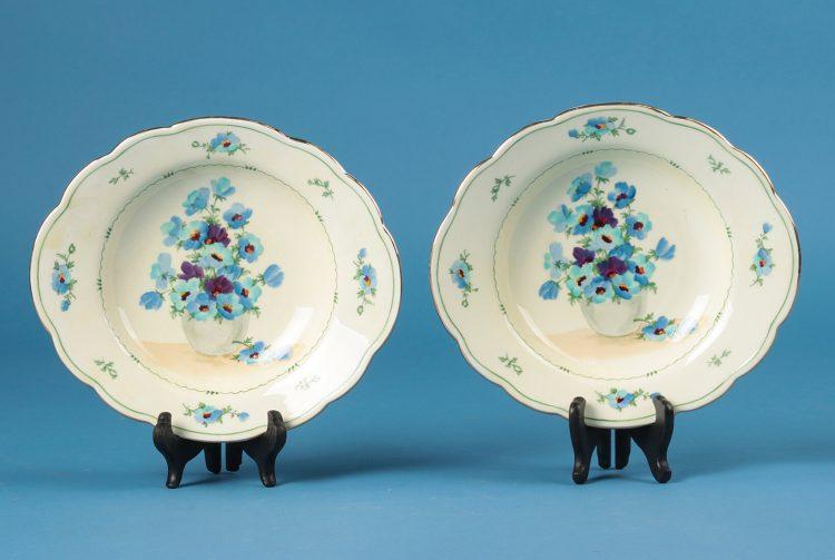 Handpainted plates Crown Staffordshire