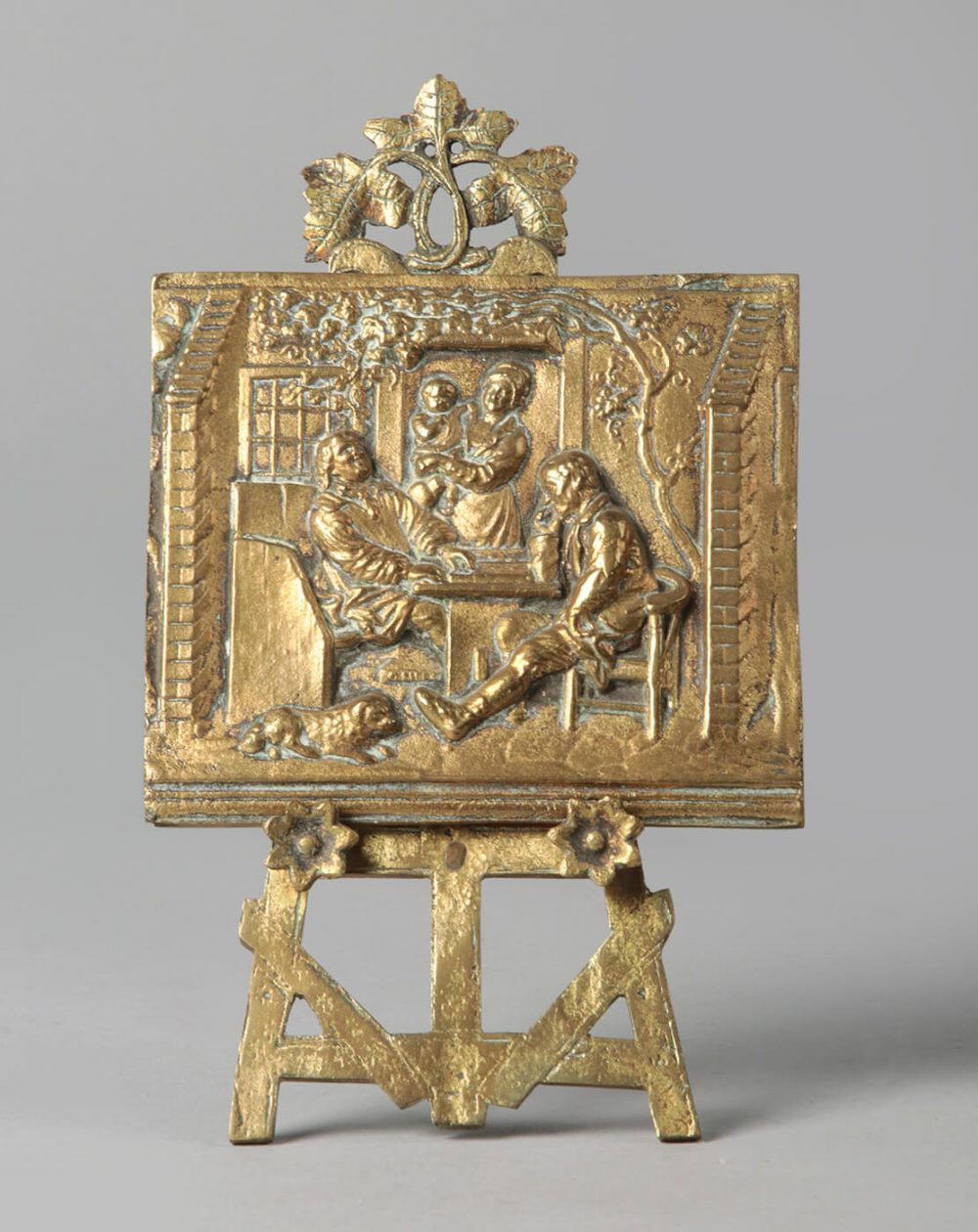 Miniature easel with painting bronze Renaissance style