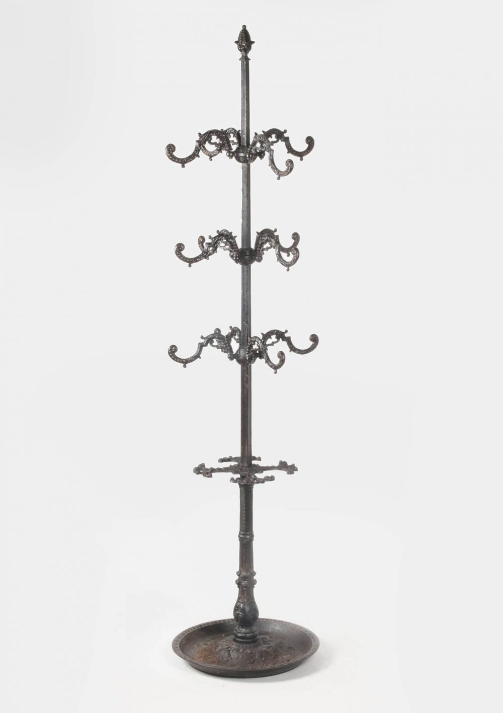 Antique cast iron coatrack with umbrella stand
